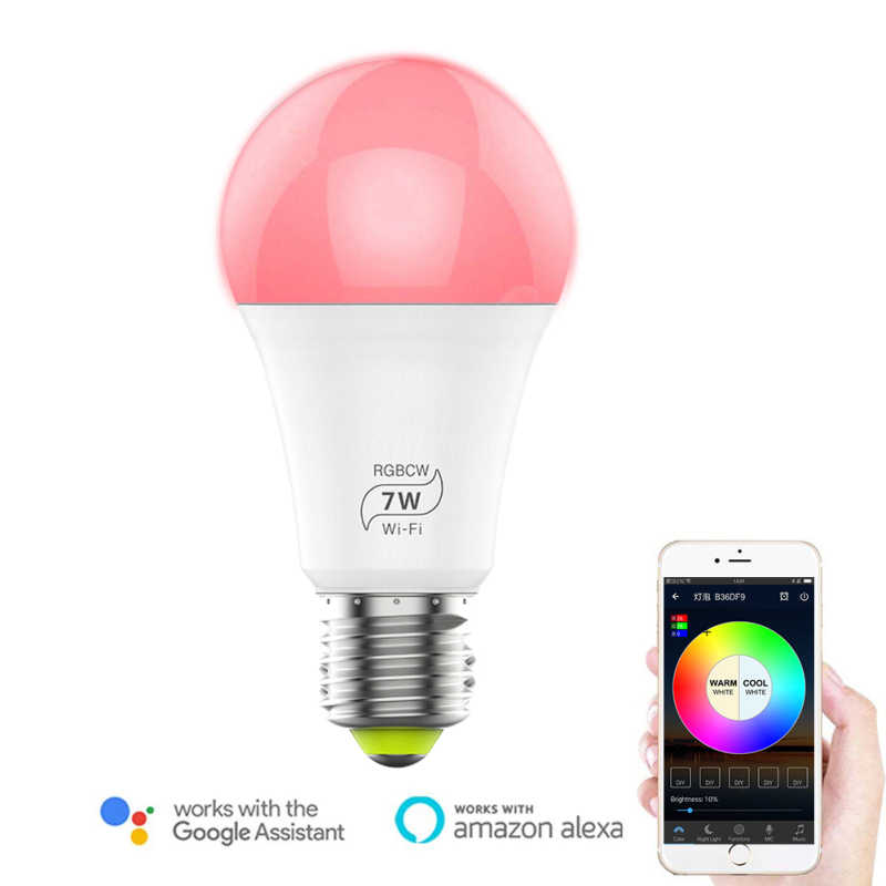 2020 7 Вт RGB умный Wi-Fi светильник светодиодный лампочка E27 приложение управление цвет многоцветный работа с Alexa Google умный дом холодный светильник Теплый светильник s