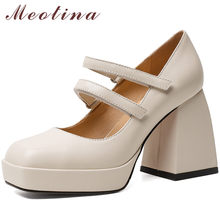 Meotina جلد طبيعي ساحة تو مضخات ماري جينس أحذية النساء سوبر عالية الكعب منصة كتلة فستان كعب الأحذية بيج