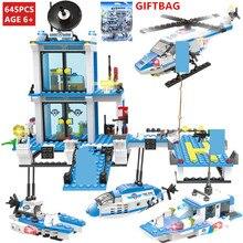 645Pcs City SWAT Maritime Police Command Coast Guard Car Building Blocks Sets LegoINGLs Bricks Toys for Children Christmas Gifts