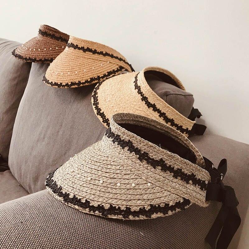 2020 New Women Handmade Raffia Sewn Braid Summer Beach Hat Lace Pearl Trimmed Sun Visor Hat Adjustable Lady Wide Brim Straw Hat
