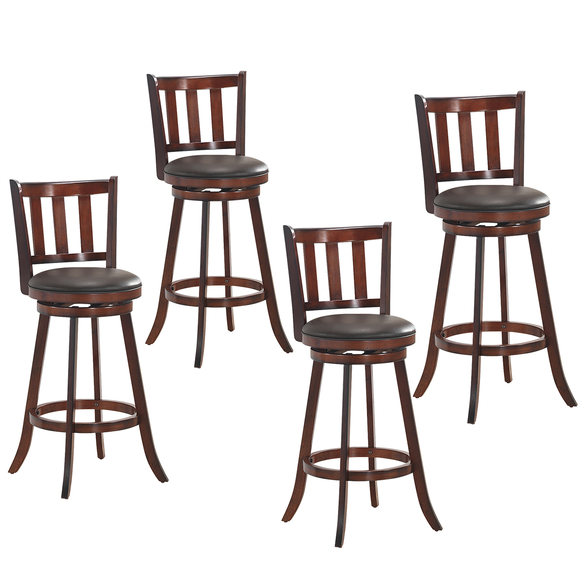 Costway Set Of 4 31'' Swivel Bar Stool Leather Padded Dining Kitchen Pub Bistro Chair