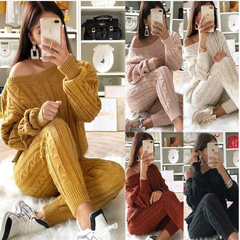 Autumn New Cotton Tracksuit Women 2 Piece Set Sweater Top+Pants Knitted Suit O-Neck Knit Set Women Outwear 2 Piece Set