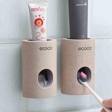 Otomatik diş macunu dağıtıcı duvara monte toz geçirmez diş fırçası tutucu diş macunu ev sıkacağı banyo aksesuarları sıkacağı