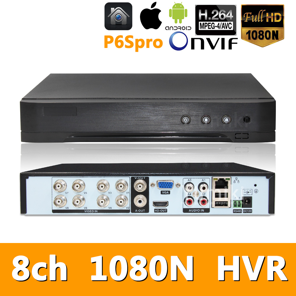 5in1 8ch*1080N AHD HVR Surveillance Security CCTV Video Recorder Hybrid DVR For 720P/960H Analog AHD CVI TVI IP Camera P6SPRO