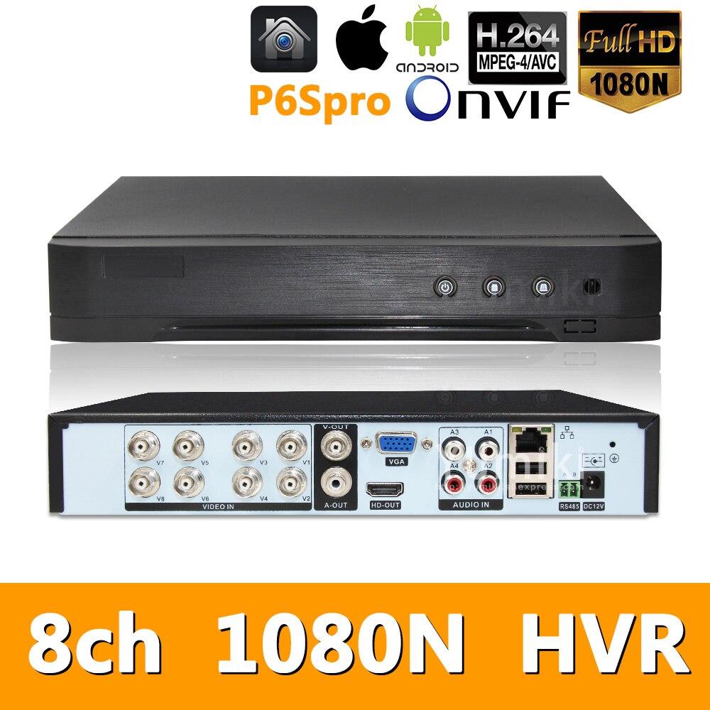 5w1 8ch * 1080N AHD HVR nadzór bezpieczeństwa CCTV wideorejestrator hybrydowy DVR dla 720 P/960 H analogowy AHD CVI TVI kamera IP P6SPRO