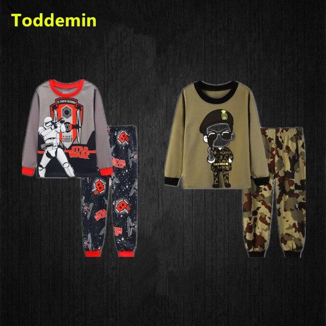 Children Baby Boys Long Sleeve Cartoon Star War Blouse Tops Pants Trouser Suit Set Pajamas