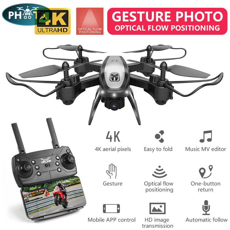 KY909 Drone 4k profesional drones with camera hd quadrocopter Wifi FPV quadcopter Gesture photo Optical flow dron mini drone image