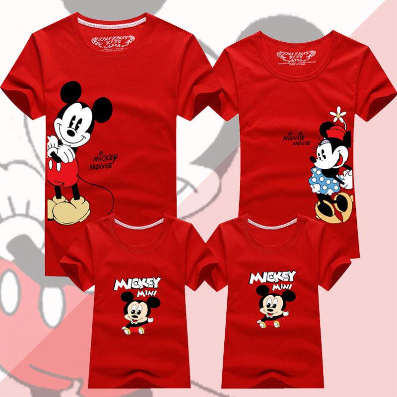 Family Matching Outfits Father Mother Daughter Son Mickey Minnie T-shirt Clothes Dad Mom And Me Baby Mouse Tshirt Family Look