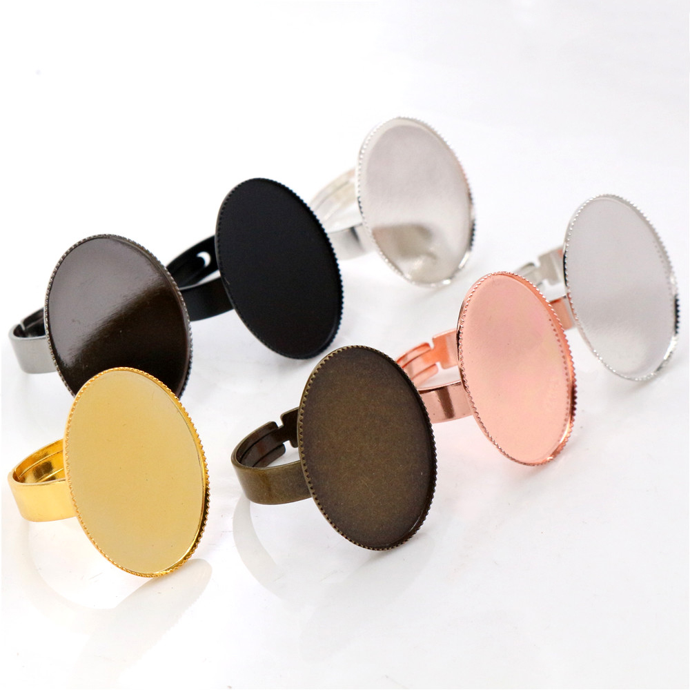 18x25mm 10pcs/Lot 7 Colors Plated Brass Oval Adjustable Ring Settings Blank/Base,Fit 18x25mm Glass Cabochons