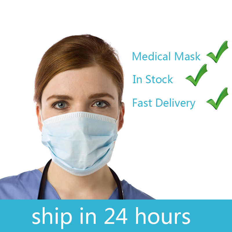 10pcs Fast Delivery Face Mouth Medical Mask 3 Layers Disposable Anti-Dust Surgical Medical Mask Earloops Masks Anti-dust Safe