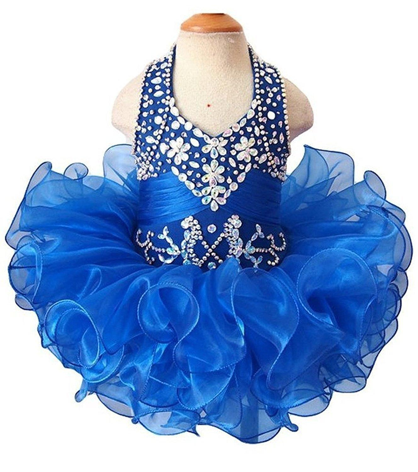 Blue Infant toddle dance mini birthday party pageant dress cupcake ball gowns