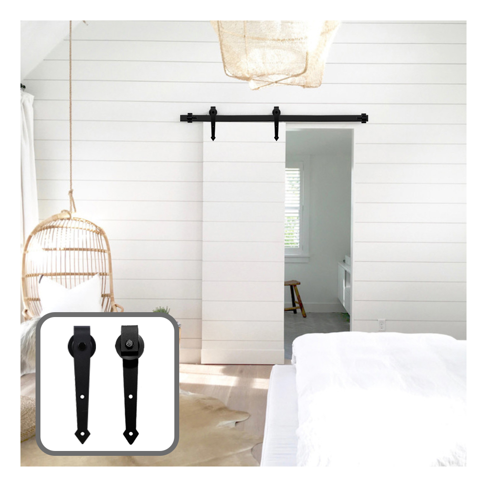 Купить с кэшбэком 6/6.6FT Wood Sliding Barn Door Hardware Arrow Shaped Track Roller Closet Hardware Country Style for Single Door