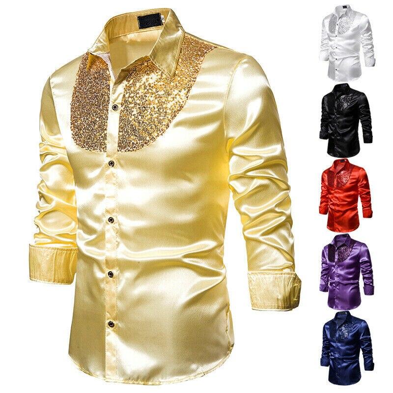 Men Long Sleeve Wedding Dress Shirt For Men Soft Comfortable Shine Business Shirt Men England Style Sequin Formal Shirt Men Tops