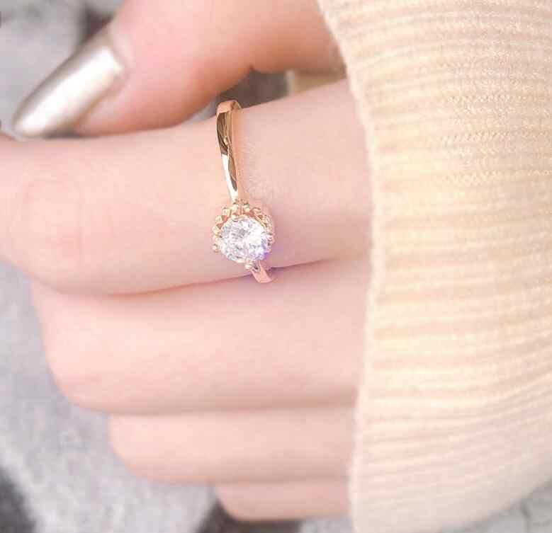 نساء خواتم AAA الأبيض الكبير الزركون قطرات الماء مكعب خاتم أنيق الإناث مجوهرات الزفاف
