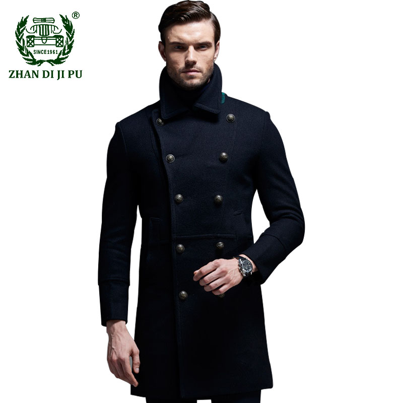 2020 Wool Blends Coats Men Autumn Winter New Solid
