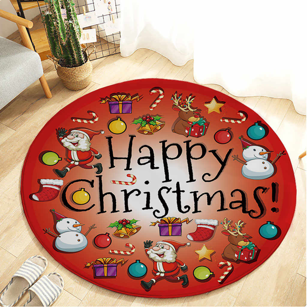 Merry Christmas Round Mat For Bedroom Computer Chair Area Rugs 3d Santa Claus Living Room Anti Slip Carpet Play Mat 60cm 2020