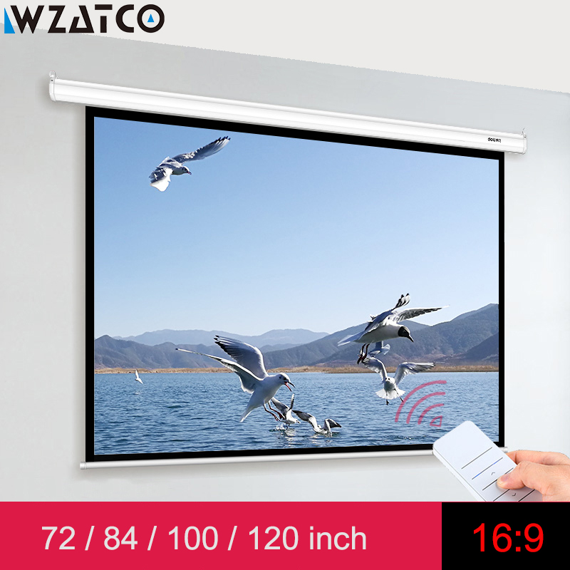 "WZATCO Electric Screen 72"" 84"" 100"" 120 Inch 16:9 Motorized Screen With Remote Control For All LED LCD DLP Laser Projectors"