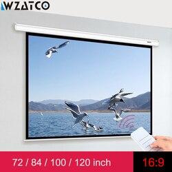 WZATCO Elektrische projektion bildschirm 72 84 100 120 zoll 16:9 Motorisierte Bildschirm mit Fernbedienung Für LED DLP Laser Projektoren