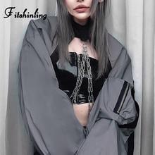 Fitshinling Harajuku Chain Autumn Sweatshirt Female 2019 Fashion Slim Streetwear Women Sweatshirts Hoodies Zipper Grey Moletom