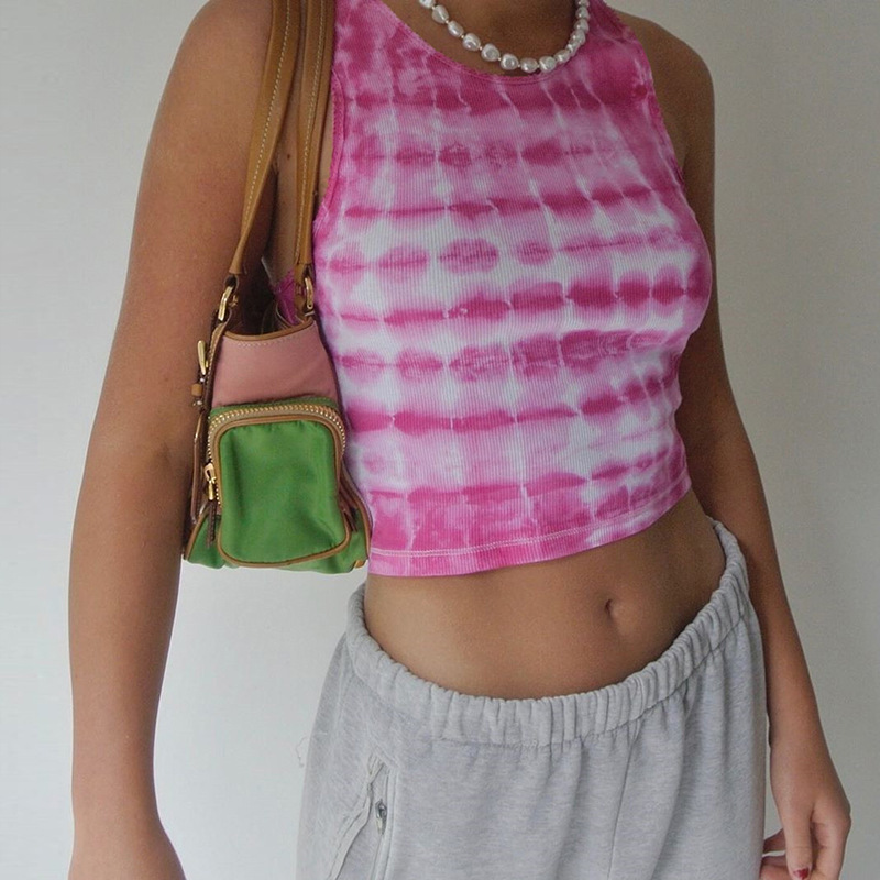 Vest Top Camisole Crop-Tops Tank Knitting E-Girl Y2K Femme Summer Female Sleeveless Tie Dye