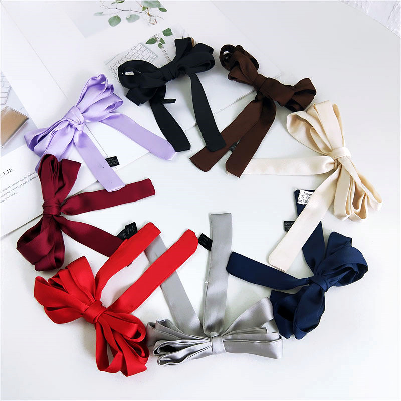 2020 New Ladies Elegant Long Skinny Bow Neck Hair Tie Scarf Women Black White Red Purple Plain Silk Chiffon Neck Scarves Foulard