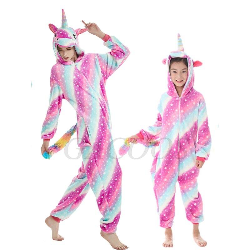 macacão crianças unicórnio com capuz pijamas 2021