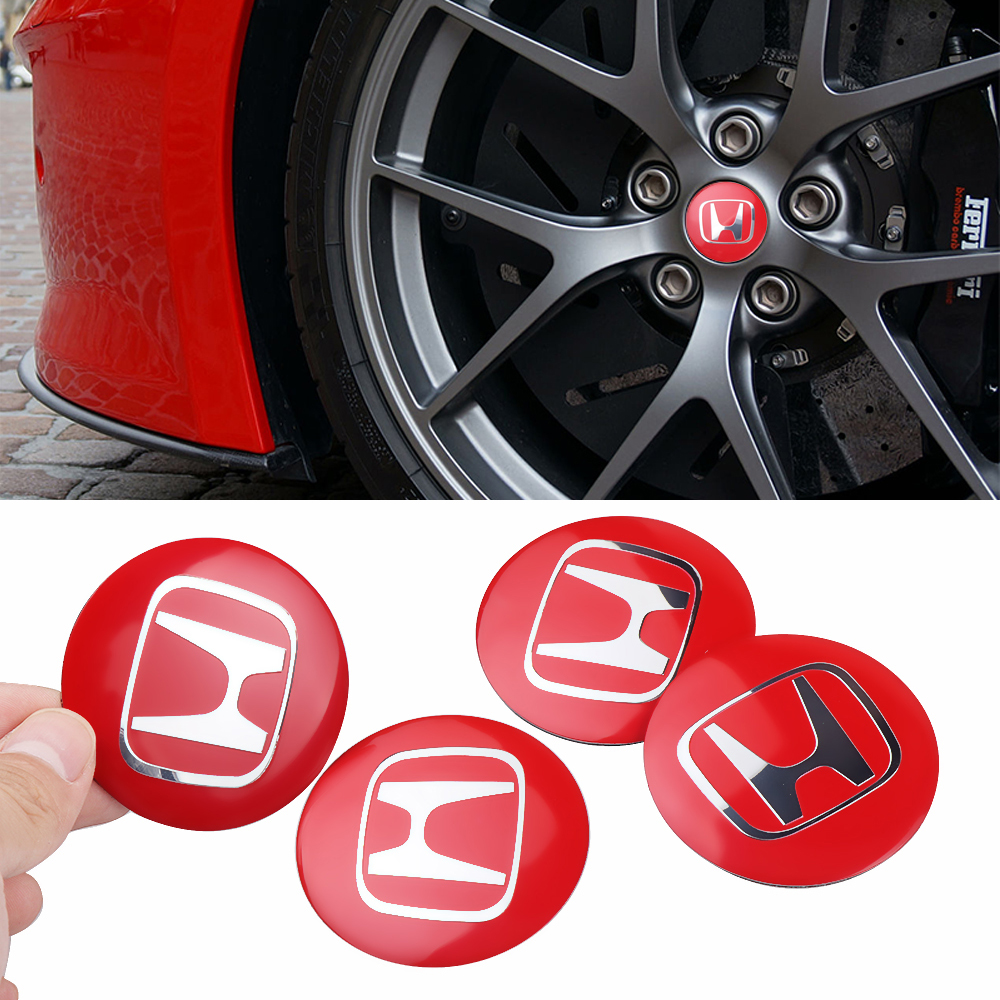 Car Styling Metal 4pcs 3D Car Tyre Steering Wheel Center Hub Cap Sticker For Honda Accord Civic CRV Fit HR-V Vezel Odyssey City