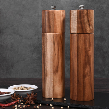 Wooden Salt and Pepper Grinders, Manual, Sea Salt and Pepper Mills for Seasoning, Meal Prep, Cooking, Serving, Dining, Tableware image