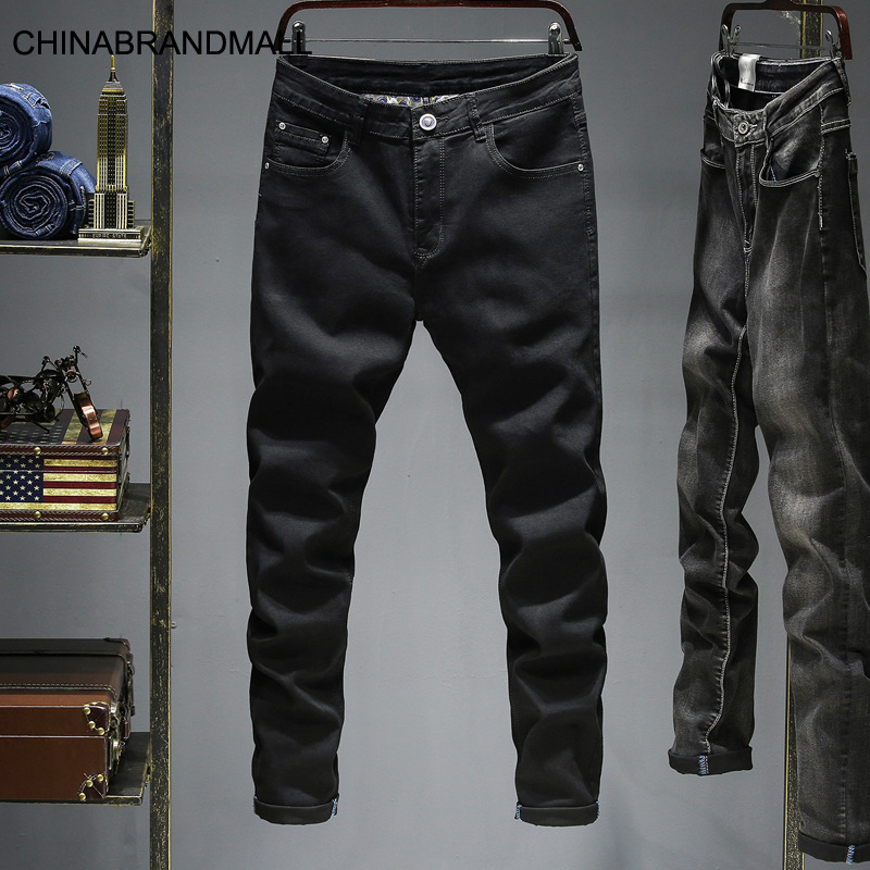 Jnf8939 # Pure Black Jeans Big Size Elastic Force Slim Fit Small Straight Cylinder Men Pants Super 28-46