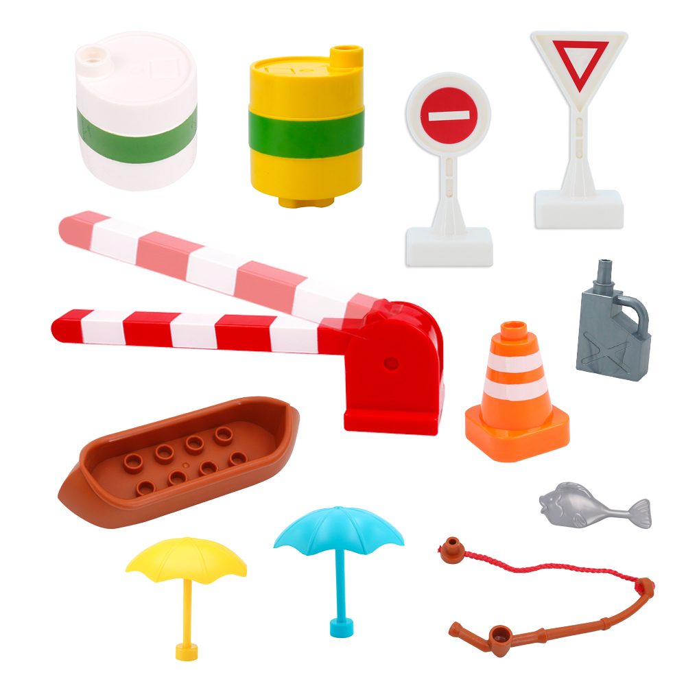 DIY Big Building Blocks Accessories Train Track Traffic Signs Traffic fishing rod light parking pole Compatible Children's Toys