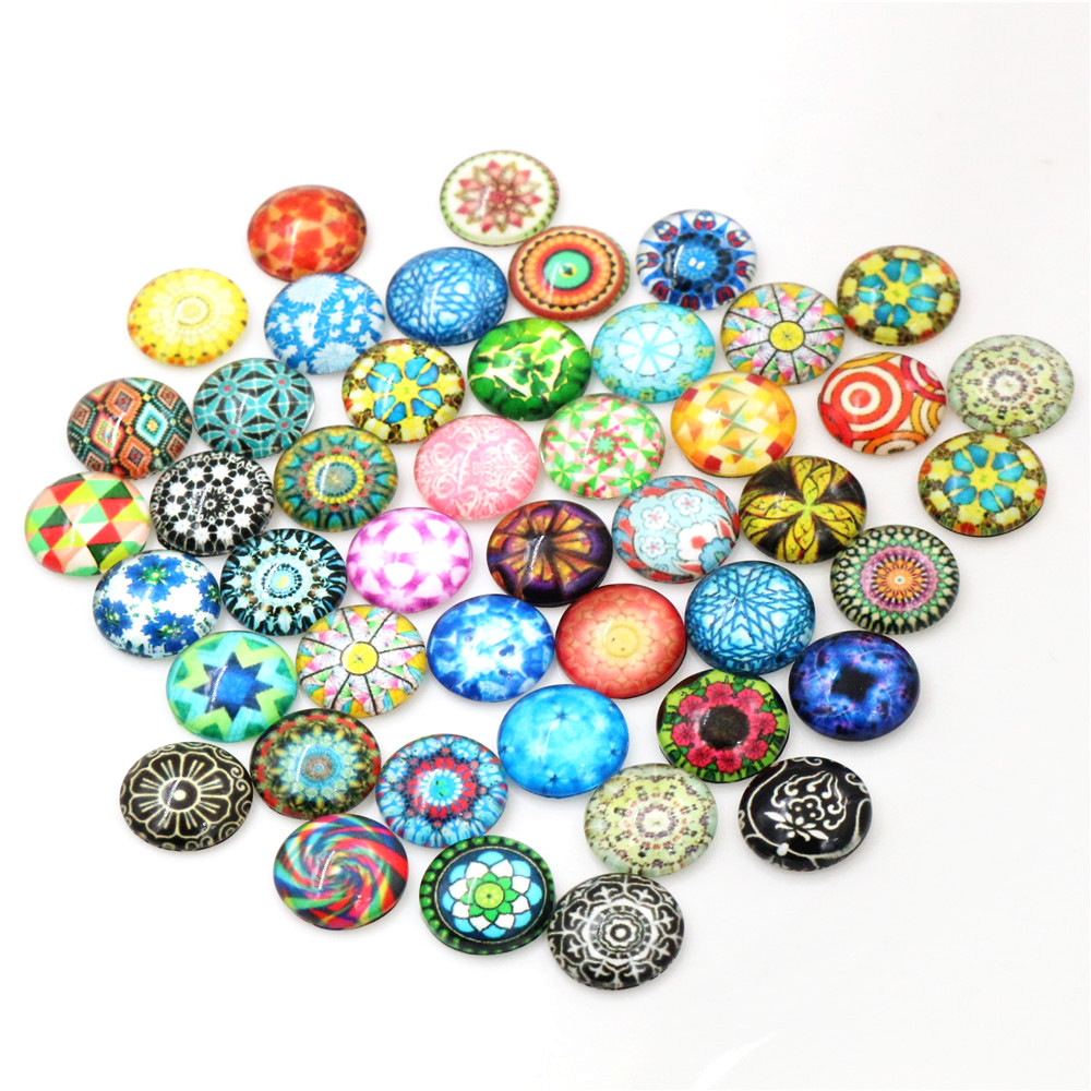 50pcs/Lot 12mm Classic Promotion Photo Glass Cabochons Mixed Color Cabochons For Bracelet Earrings Necklace Bases Settings-G2-31