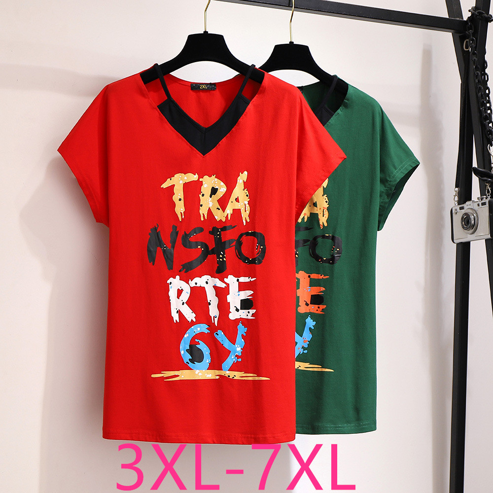 New 2020 summer plus size tops for women loose casual short sleeve cotton green red print letter V neck T-shirt 4XL 5XL 6XL 7XL