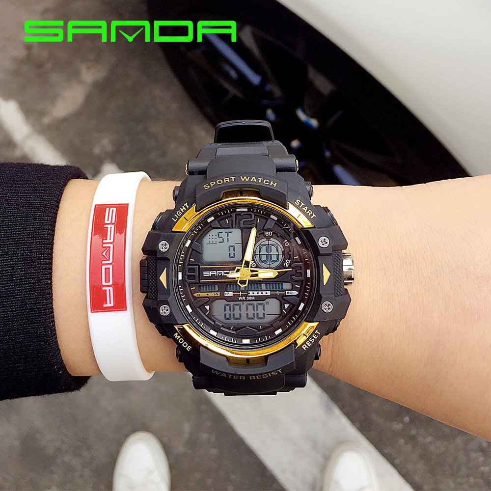 Big Dial Relogio Led Dourado Double Date Men Watch LED Japanese Movement Digital Sport Electronic Classic Gold