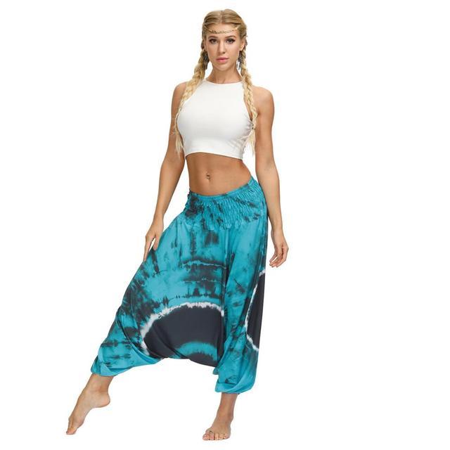 Ladies Boho Harem Pants Blue Circle 22