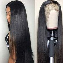 Rainha amor frente reta do laço perucas de cabelo humano pré arrancadas linha fina remy 13x4/13x6 brasileiro frente reta do laço perucas de cabelo humano
