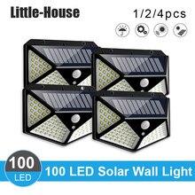 4/2/1 pces 100 led energia solar pir sensor de movimento parede luz ao ar livre lâmpada jardim à prova dwaterproof água para jardim decoração parede rua