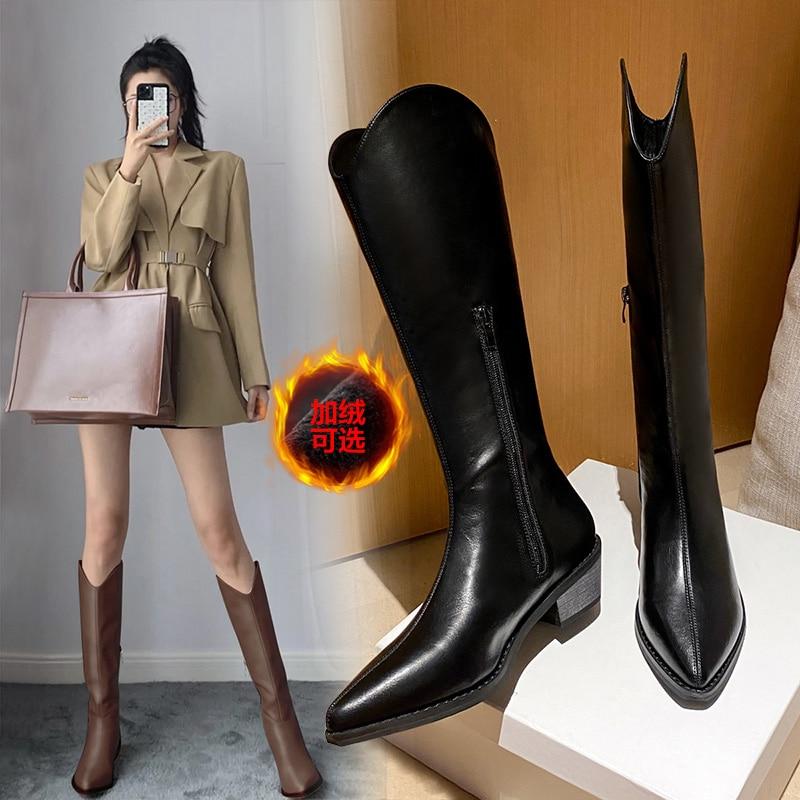 2020 chaude longue équitation bottes de luxe concepteur femmes bloc talons hauts compensées hiver genou bottes hautes talons Western Cowboy bottes | AliExpress