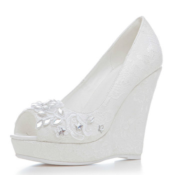 YECHNE Wiggen Women High Heels Shoes White Woman Wedding Shoes Pumps Plus Size Fashion Sexy Crystal Wiggen Pumps 2020