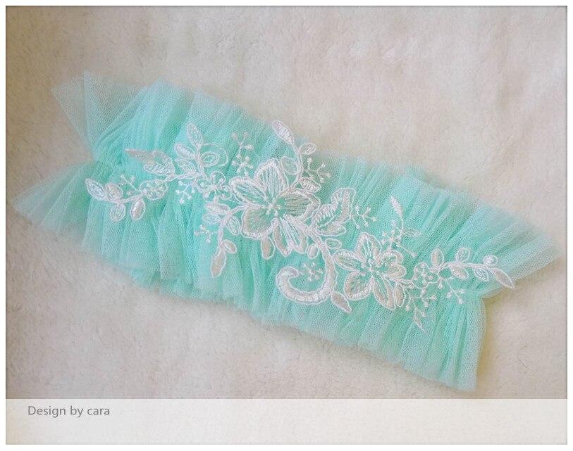 Mint Tulle Garter Lace Garter Bridal Wedding Garter