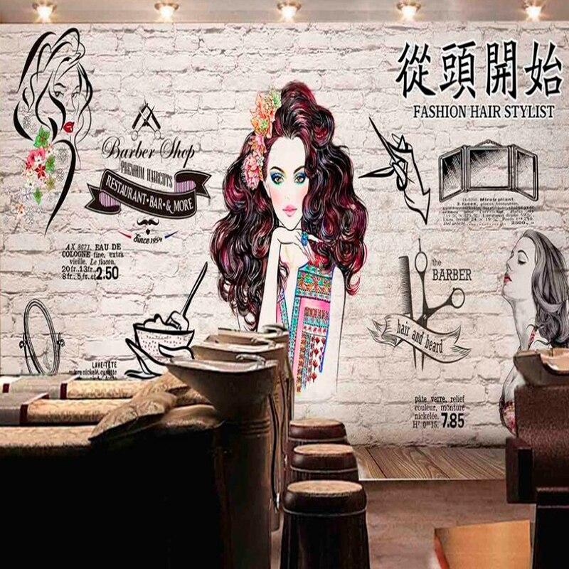 Dropship Drop Shipping personalizado pared de ladrillo barbería tienda de imagen dibujada a mano belleza tienda de manicura Anime dibujos animados papel tapiz moderno