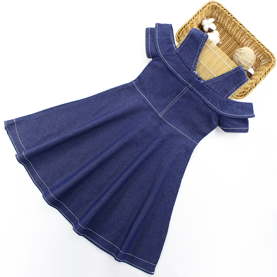 H1c811088353b40a9b44fbc012face44dY - Girls Summer Dress Off Shouder Denim Dress For Girls Newest Jeans Party Dress Girls Teenage Kids Girls Clothes 6 8 10 12 14