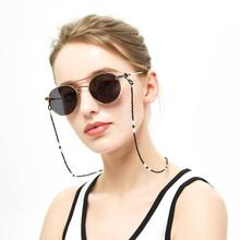 Classic and simple Black white Contrast Acrylic Beaded Glasses Chain Universal cord holder Anti-skid loop Daily or Sports