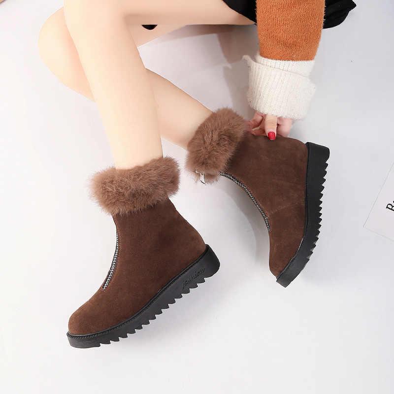 Fujin 2020 kadın kar botları düz kış artı boyutu platformu bayanlar sıcak ayakkabı yeni akın kürk kadın süet yarım çizmeler kadın