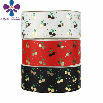 """3""""75mm Green Ink Gold Foil Cherry Pattern Solid Grosgrain Ribbon DIY Bowknots Hair Band Making 50yards/roll"""