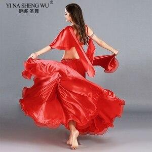 Image 3 - Trajes de danza del vientre profesional para adultos, conjunto de danza Oriental elegante, Top de danza del vientre, sujetador, falda larga, trajes para mujer
