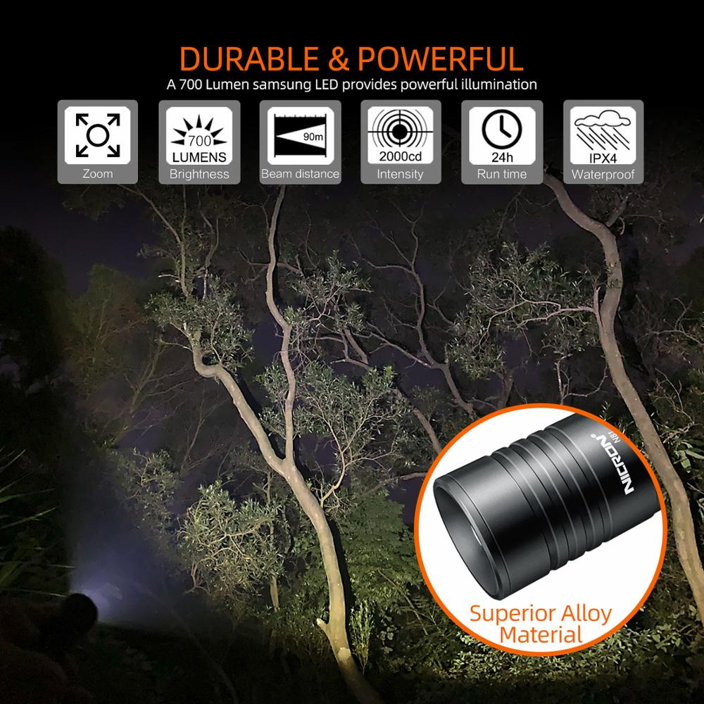 Image 2 - NICRON Zoomable LED Flashlight Dual Fuel 18650 / AA Battery 700LM IPX4 Waterproof 5 Modes For Riding Outdoor LED Torch Light N81-in Flashlights & Torches from Lights & Lighting