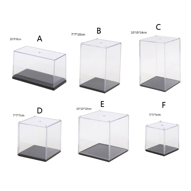 Clear Acrylic 5 Side Display Cube Props Box Organizer Dustproof Protection Showcase For Action Figures Toys Collectible