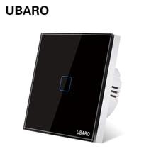UBARO EU/UK Luxury Tempered Crystal Glass Panel Light Wall Led Touch Switch Blacklight Interruptor Pared Luz AC100-240V 1 Gang