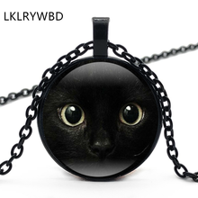 LKLRYWBD / Retro Black Cat Face Round Glass Necklace Ear Pendant Jewelry