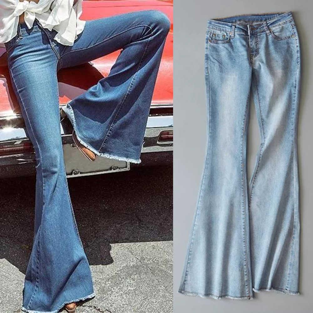 2019 Nieuwe Lente Herfst Vrouwen Blauw Mid Taille Flare Bell Bottoms Dames Sexy Stretching Jeans Mode Wijde Pijpen Denim Broek